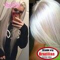 Платиновая Блондинка полный парик шнурка 100 Девственных человеческого волоса Прямо Бразильский парики шнурка 130% плотность средняя часть aliepxress волос