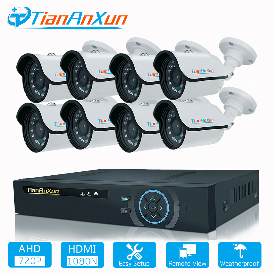 TIANANXUN 8CH CCTV System 720P HDMI AHD DVR 8PCS 1.0 MP AHD Camera Outdoor Night Vision Security Camera video surveillance Kit sndway sw e40 rree shipping rz40 131ft laser rangefinder 40m distance meter digital laser range finder tape area volume angle