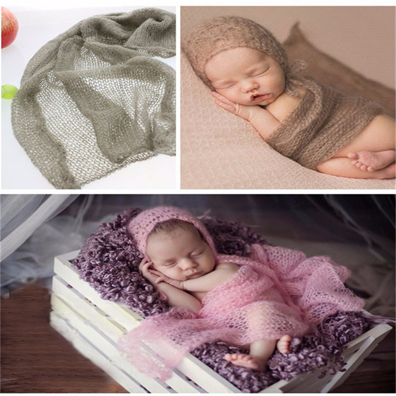 1pcs newborn photography wraps handmade hammock mohair baby photo accessories baby photo props scarfshoot accessories 4060cm in hats caps from mother