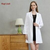 Ruyi Liuli Women Scrubs White Lab Coat Medical Nurse Doctor Uniform Lapel Neck Long Sleeve