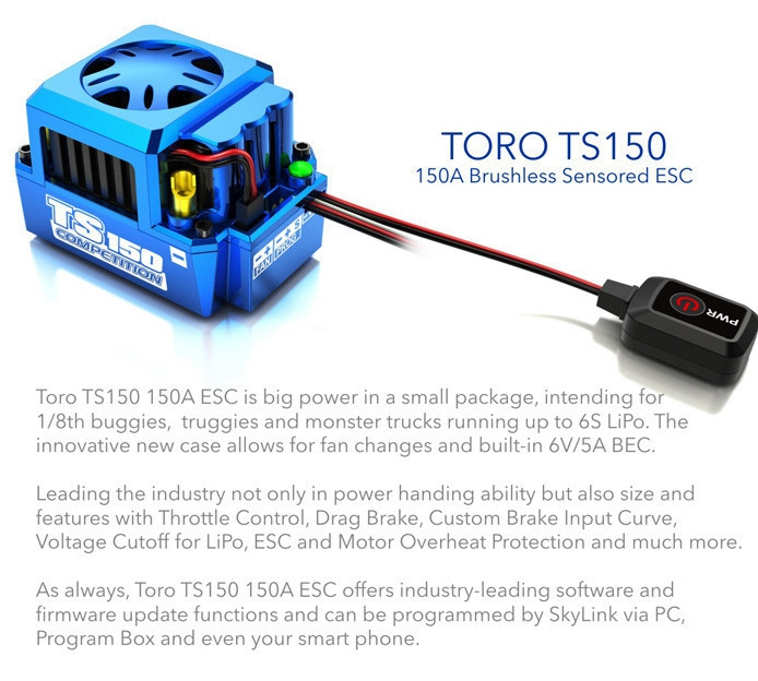 SKYRC TORO TS150A 1/8 Car Brushless ESC Sensored soporte Bluetooth para Rc coches piezas