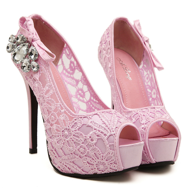 Big size Shoes Sweet Women Pumps Crystal High Heels Shoes Flower Pink  Wedding Shoes Chaussures Mariage Strass Peep Toes Pumps 68e13d988ae9