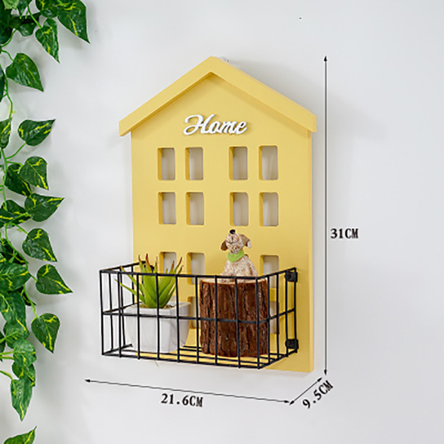 Vintage pastoral small house wall shelf living room wall mounted storage rack wall flower shelf room hanging decoration 5