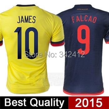 710eaf8a7 New Colombia jersey 2015 JAMES RODRIGUEZ T shirt Home Black Away White  FALCAO Jerseys 15 16 Survetement Football Camisa Futebol