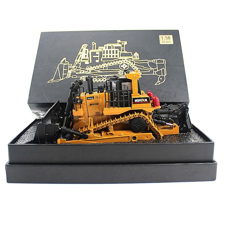 Модель гусеничного бульдозера из сплава 1:50, отлитый под давлением гусеничный инженерный трек, высококлассная коллекционная игрушка из мет...