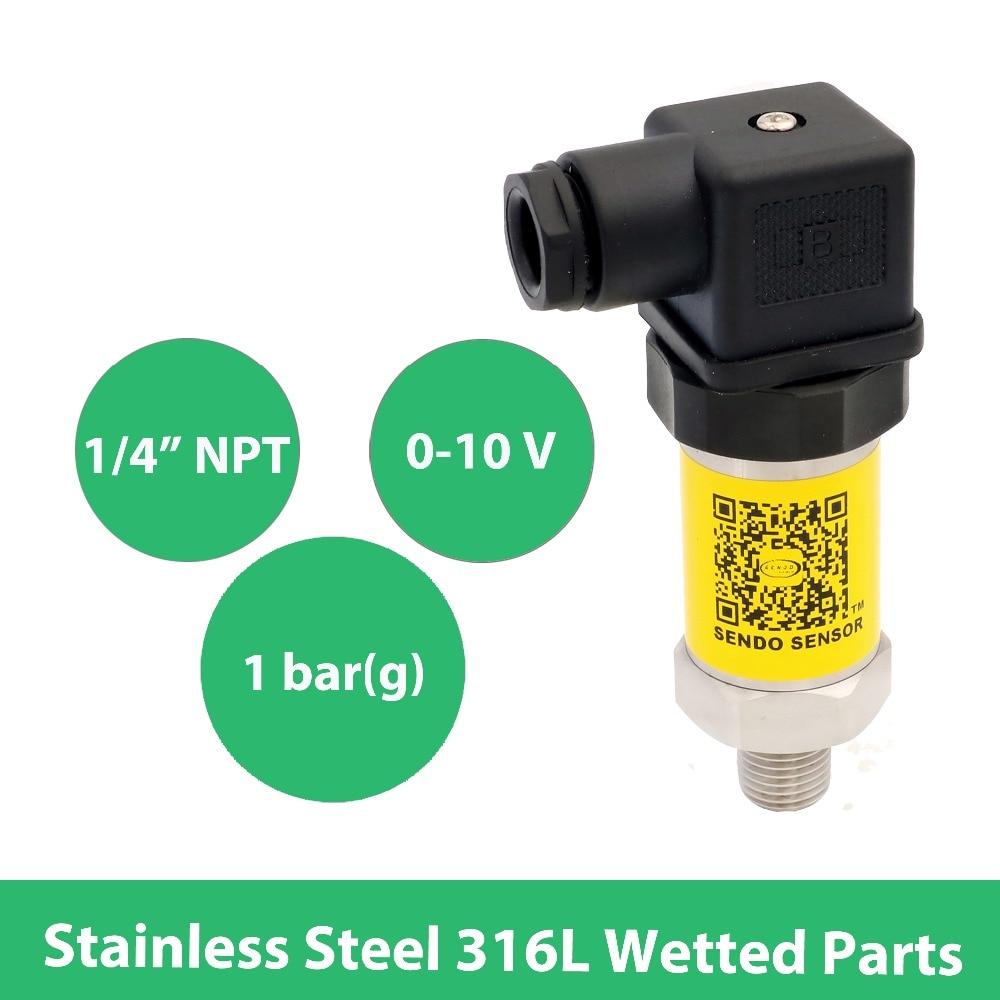 0-10 V transmitter sensor pressure, DC 12 to 30V, 0 14.5 psi 1 bar, thread 1 4 NPT , stainless steel 316L diaphragm, hydraulic цена