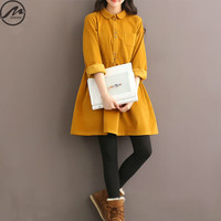 Plus Size Autumn Winter Dresses 2016 New Fashion Women Vintage Solid Color Casual Long Sleeved