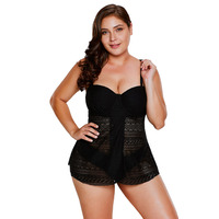 PLUSLAND TANKINI Sexy Women Solid Color Lace Flyaway Underwired Tankini Bathing Suit Plus Size Two Piece Separates Bathing Suits