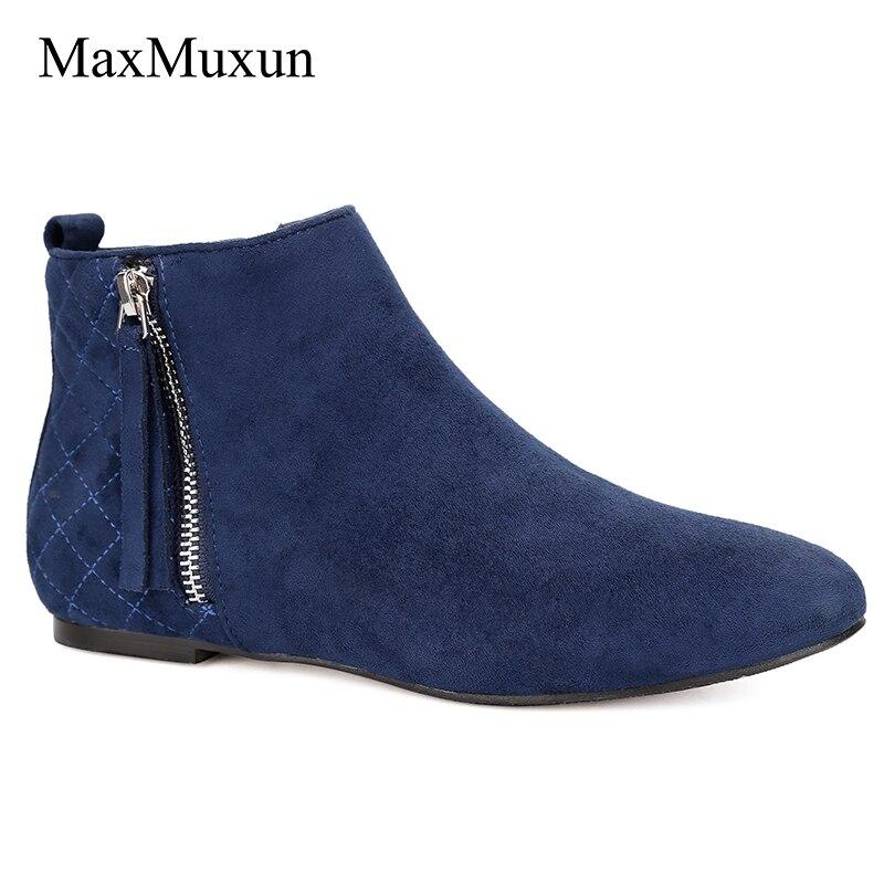 Chaussons Talon Mode Casual Femmes Bottes Maxmuxun Printemps Chelsea Classique Automne Dames Cheville Arrivée Nouvelle Bleu De Plat Courtes v0Nm8wnO