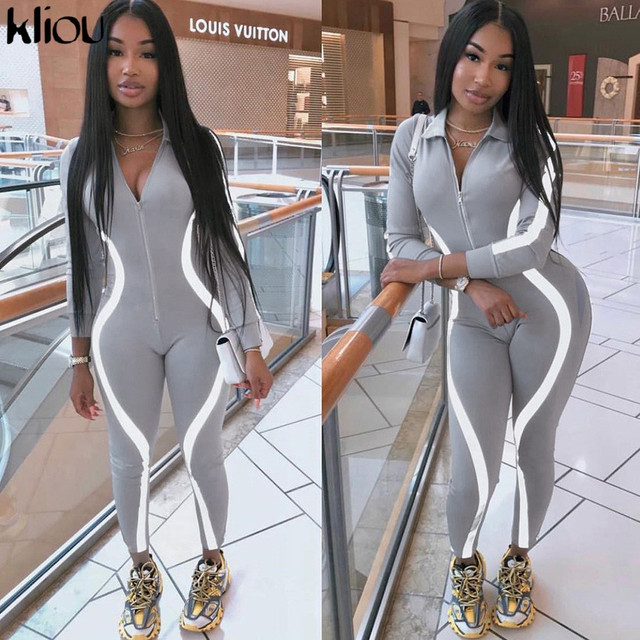 Kliou Women Skinny Jumpsuit Reflective Striped Patchwork Fitness Bodysuit 2019 New Ladies Casual Work Out Playsuit