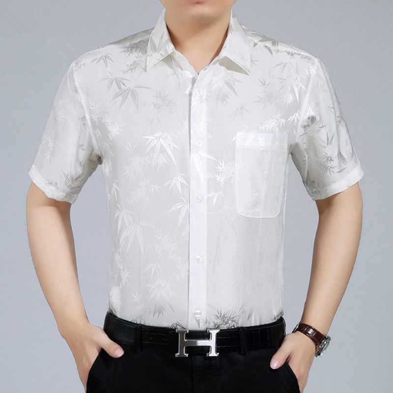 AYUNSUE 夏 100% シルクのシャツの男性半袖白シャツルーズメンズドレスシャツ高品質フォーマルカミーサ Masculina KJ1946