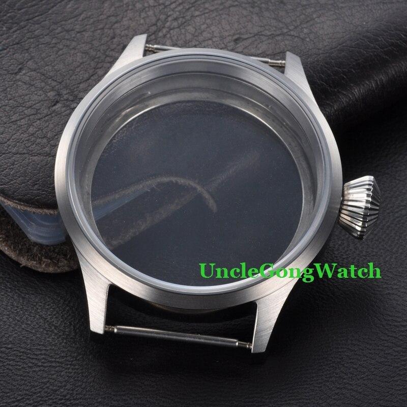 Pièces de montre, boîte en acier inoxydable 43mm pour mouvement ETA UNITAS 6497/6498, boîtiers de montre en verre saphir SC4303