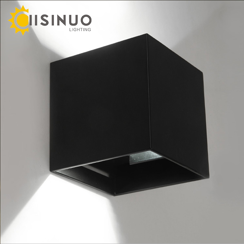 Modern Brief Cube Lámpara de pared de superficie ajustable montada 6W LED Exterior impermeable IP65 Luces de aluminio Jardín Luz Aplique