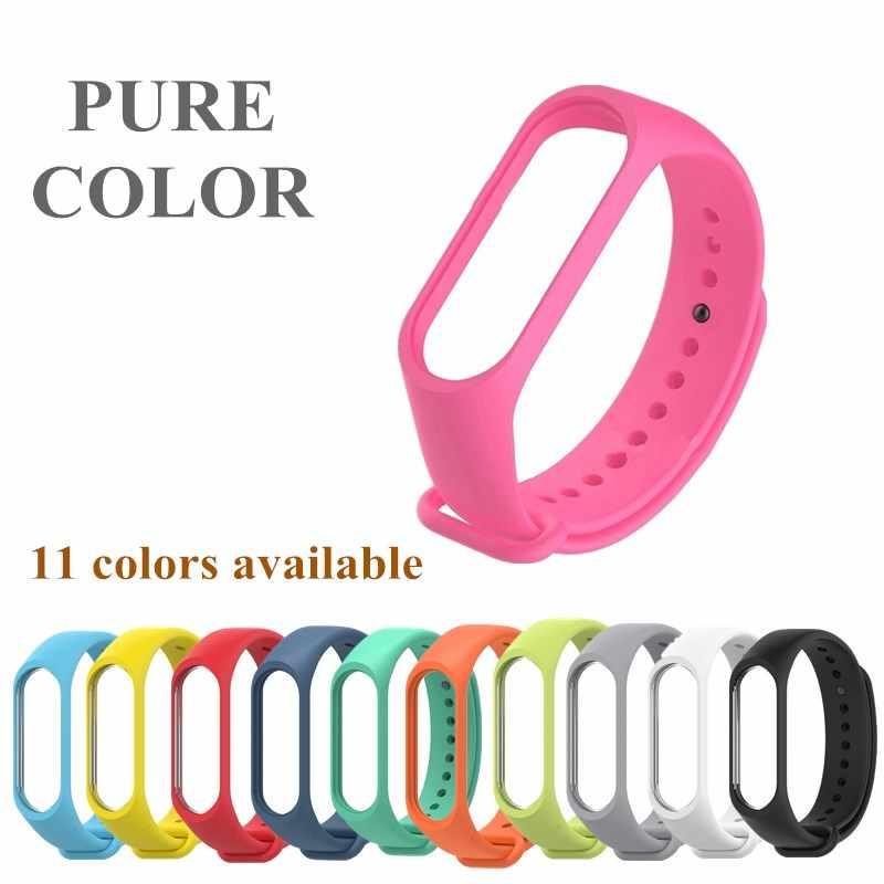 Силиконовый браслет для xiaomi mi band 4 3 браслет чистый двойной цвет сменный ремешок Mi Band 4 3 Miband 4 3 ремешок на запястье