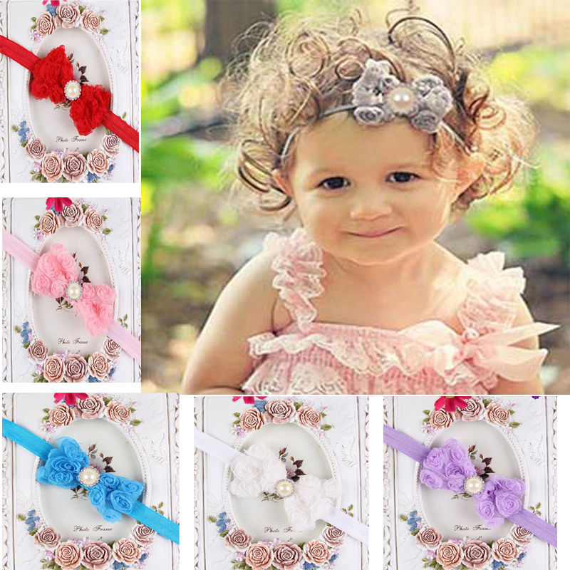 Girl Kid Rose Bow Lace Flower Elastic Headband Newborn Hairband Headband Accesorios Para El Pelo Sale Price Girls' Clothing Hair Accessories