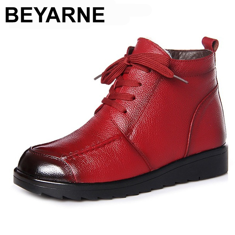 BEYARNE 2018 Genuine Cow Leather Women Ankle Boots Lace Up Round Toe Natural Wool Snow Boots