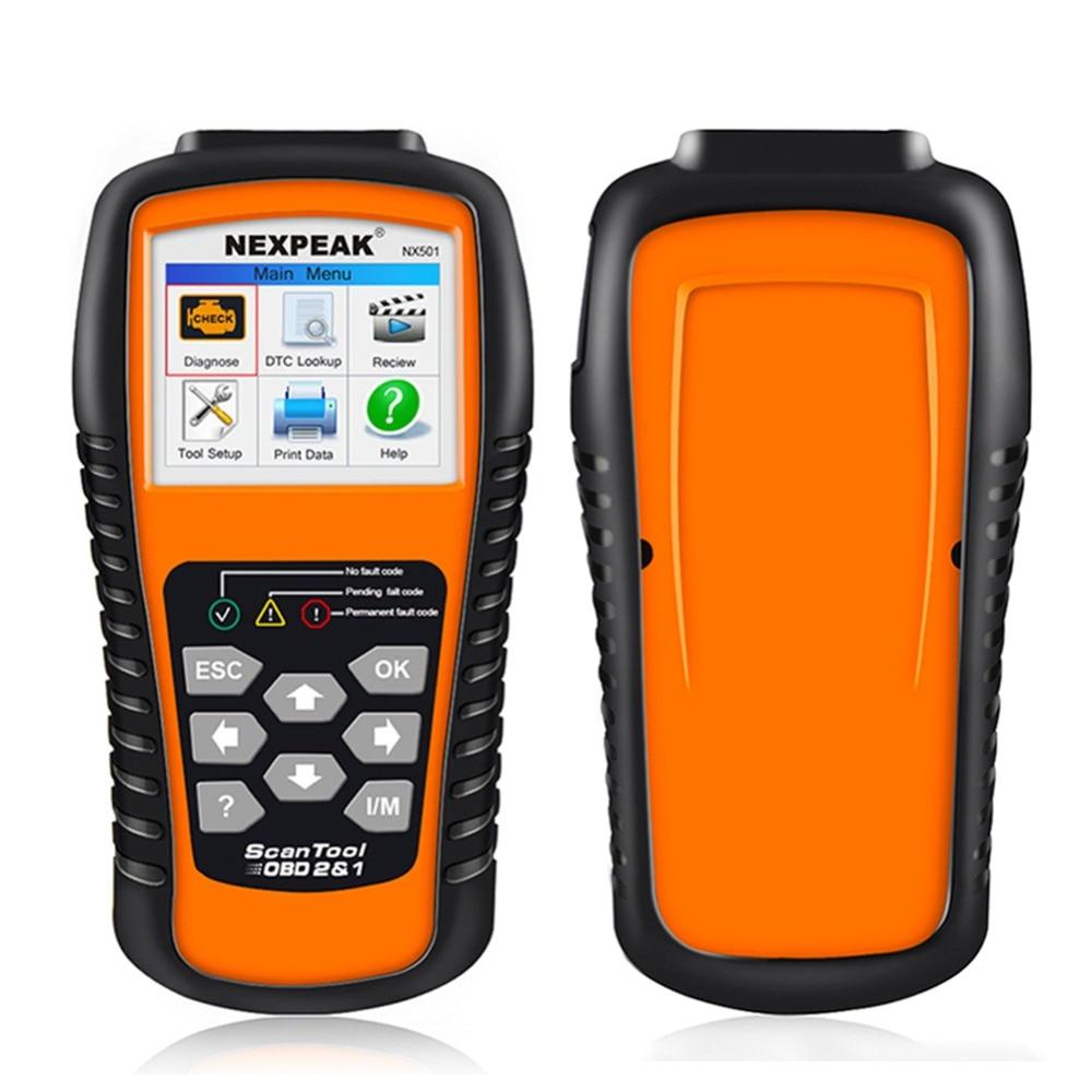 OBD OBD2 Automotive Scanner NEXPEAK NX501 Car Diagnostic Tool Scanner Auto Code Reader Detector Brake Fluid Tester Better ELM327