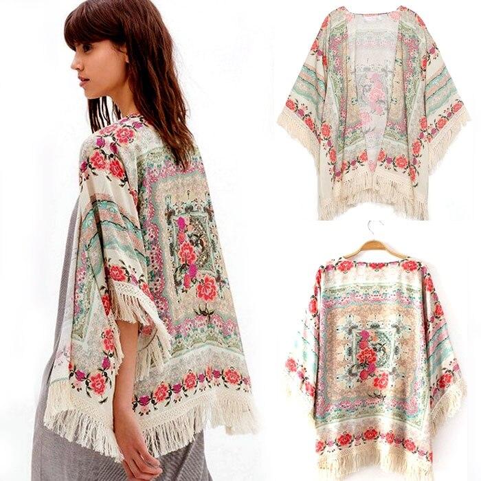 d761091c201 Women Chiffon Kimono Summer Coat lady Floral Loose Tassels Shawl Kimono  Cardigan Jacket Cami Girl Printed Loose blouses S/M/L