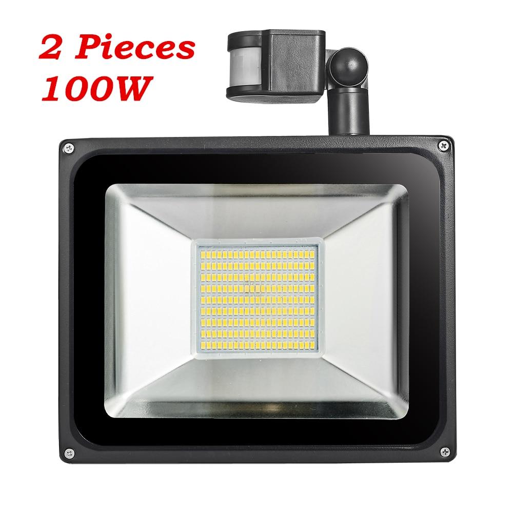 2 Unids 100 W PIR Sensor de Movimiento Infrarrojo Luz de Inundación 220V-240V 11000LM Sensor de Infrarrojo PIR Reflector Lámpara LED para Iluminación Exterior