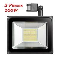 2 Pcs 100W PIR Infrared Motion Sensor Flood Light 220V 240V 11000LM PIR Infrared Sensor Floodlight