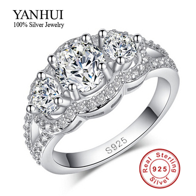 purity silver wedding rings for women 925 sterling silver crystal simulated diamant - Sterling Silver Wedding Rings