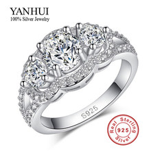 YANHUI 100% Solid 925 Silver Wedding Rings for Women Cubic Zirconia Fine Jewelry Rings Wholesale BKJZ089(China)