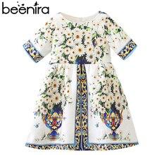 Beenira Brand 2018 Summer European And American Style Short-Sleeve Children Flower Pattern Princess Dress Girls Dresses 3-8Y