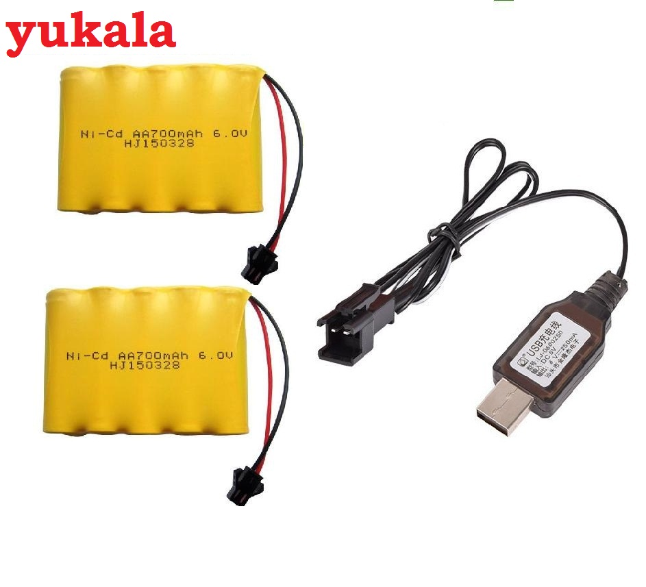 YUKALA 6.0V 700mAh N-CD AA Battery*2+usb charger for RC car RC boat RC tank yukala 4 8 v 700mah n cd aa battery for rc car rc boat rc tank 2pcs lot free shipping
