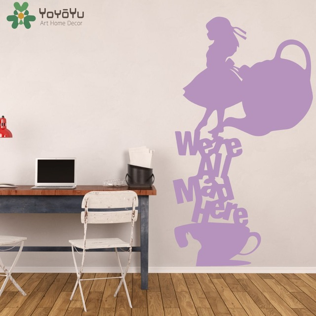 Alice In Wonderland Wall Stickers For Kids Rooms Tea Party Wall Decal  Teapot Pattern Were All