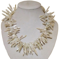 17 inches 30 40mm Natural V Shape Baroque Biwa Pearl Necklace with 925 Sterling Silver Hoop Clasp