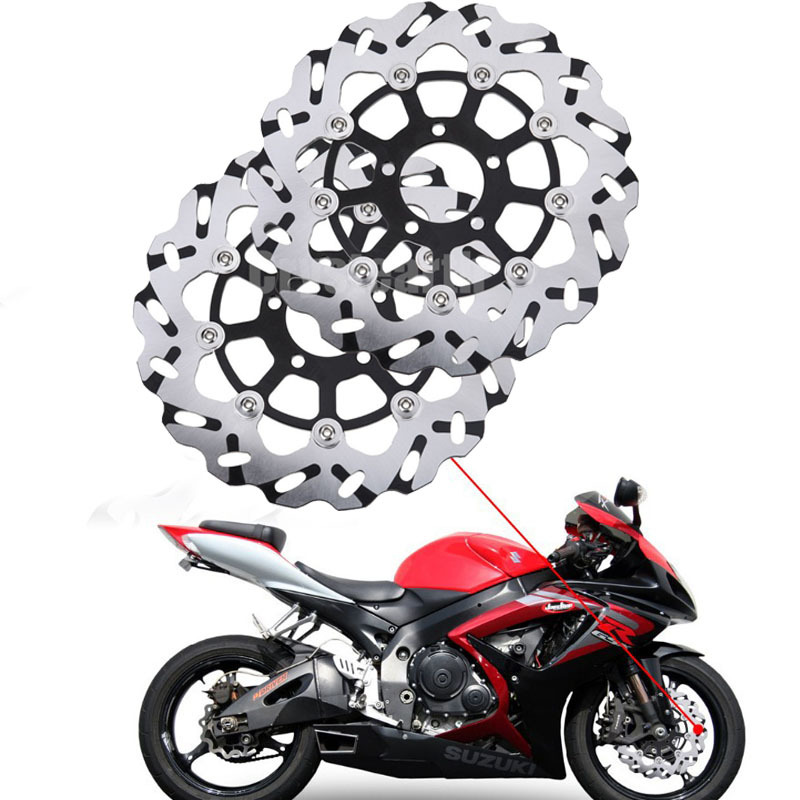 2Pcs/Set Motorcycle Front Brake Disc Rotors For Suzuki Hayabusa GSX-R600 GSXR 1300 600 750 1000 TL 1000 TL1000R TL1000S GSX1400 for suzuki gsx r600 750 gsxr 1000 gsxr1300 99 07 1 pair front brake disc motor hayabusa tl1000s 2000 2001 2002 2003 gold