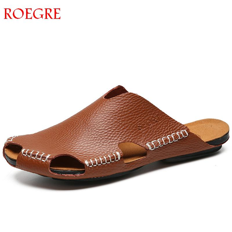 Rome Summer Genuine Leather Slippers Men Sandals Hollow Out Breathable Beach Sandals Shoes Men Casual Flats Flip Flops Zapatos