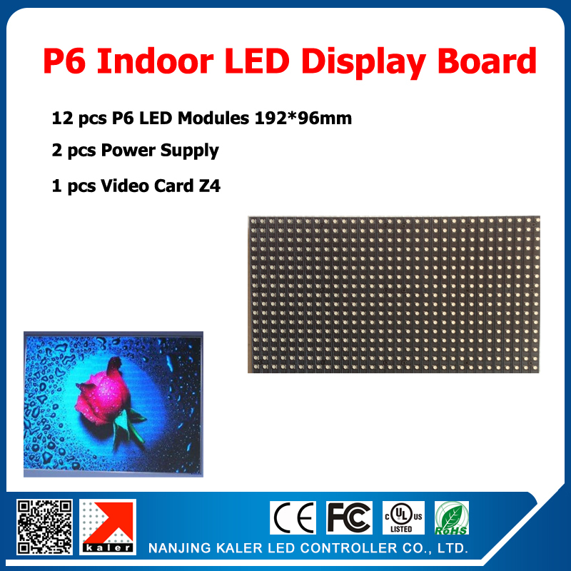 DIY Kit Indoor Video LED Sign 12pcs P6 SMD 3in1 Module+1 Async Control Card+2 Power Supply+Cable ,Indoor Led Display Screen Kits