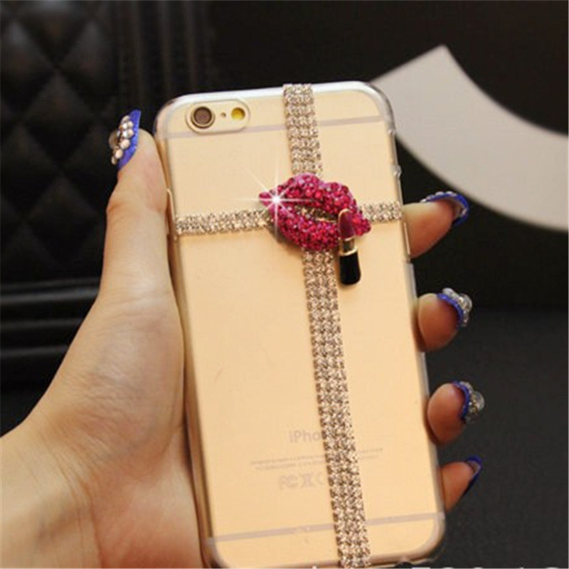 For LG K10 (2018) Cover Case Fashion Glitter Diamond Lip Lipstick Crystal Rhinestone Phone Case Soft Rubber Back Cover Handmade - intl