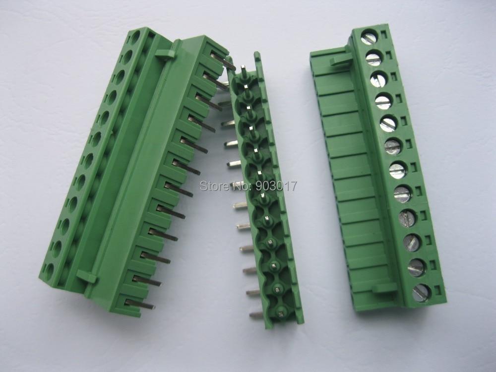 Angle 12 waypin 5.08mm Screw Terminal Block Connector Pluggable Type Green 20 Pcs Per Lot HOT Sale