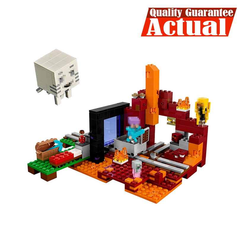 LEPIN My World Minecraft 18038 527PCS the Nether Portal Building Blocks Bricks enlighten toys for children Compatible With 21143 lepin 18010 my world 1106pcs compatible building block my village bricks diy enlighten brinquedos birthday gift toys kids 21128