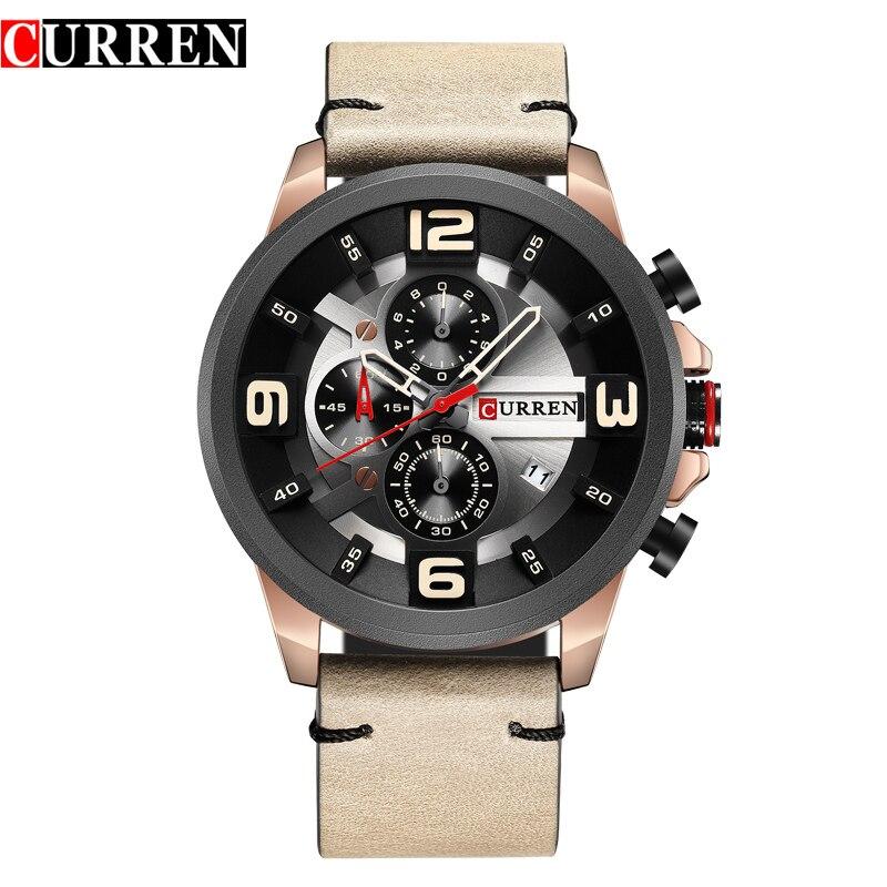 CURREN Fashion Design Sports Men Watches Leather Strap Chronograph Calendar Military Quartz Male Clock Casual Men's Wristwatch