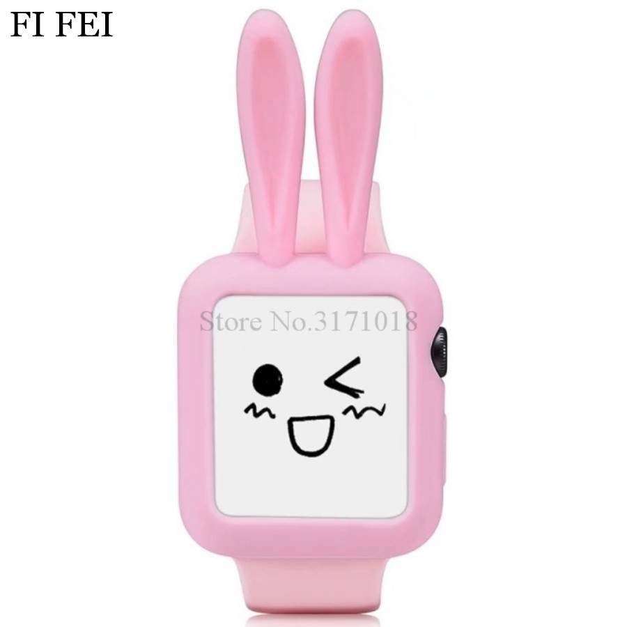 FI FEI Cute Cartoon Rabbit ears Soft Silicon Protective Case For Apple Watch Series 1 2 3 Cover Shell 42 mm 38MM 42MM 38&42mm series 1 2 3 soft silicone case for apple watch cover 38mm 42mm fashion plated tpu protective cover for iwatch