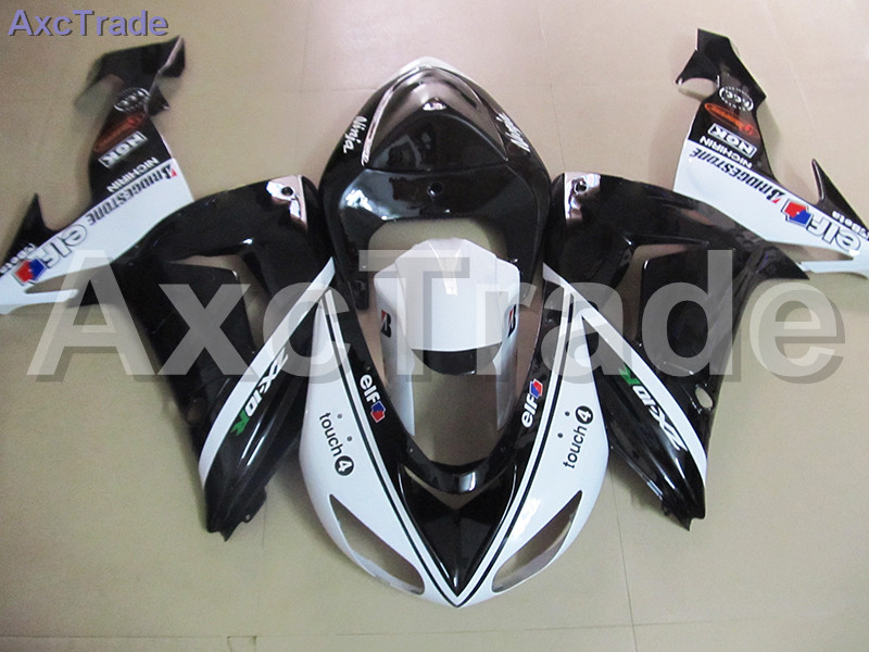 White Black Moto Fairing Kit For Kawasaki Ninja ZX10R ZX-10R 2006 2007 06 07 Fairings Custom Made Motorcycle Bodywork C476 black moto fairing kit for kawasaki ninja zx14r zx 14r zz r1400 zzr1400 2006 2007 2008 2009 2010 2011 fairings custom made c549