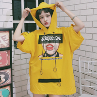 Summer Japanese Harajuku Graphics Oversize T Shirt Women Yellow Street Fashion Short Sleeve Loose Female T