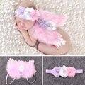 Newborn fotografía atrezzo punto de ganchillo de vestuario lindo ángel wing accesorios fotografia foto de bebé girls ropa trajes rosa roja