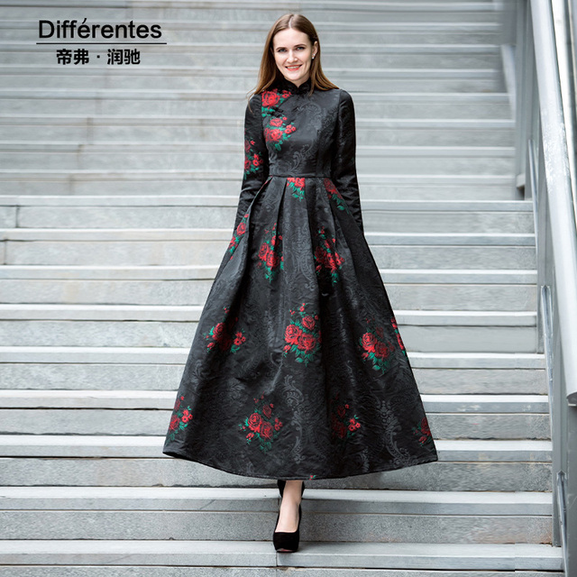 Embroidery Chinese Style Vintage Black Dres Womens Evening ...