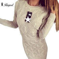 Long Sleeve O Neck Sexy Women Knitted Sweater Dresses 2016 Autumn Winter Vintage Evening Party Bodycon