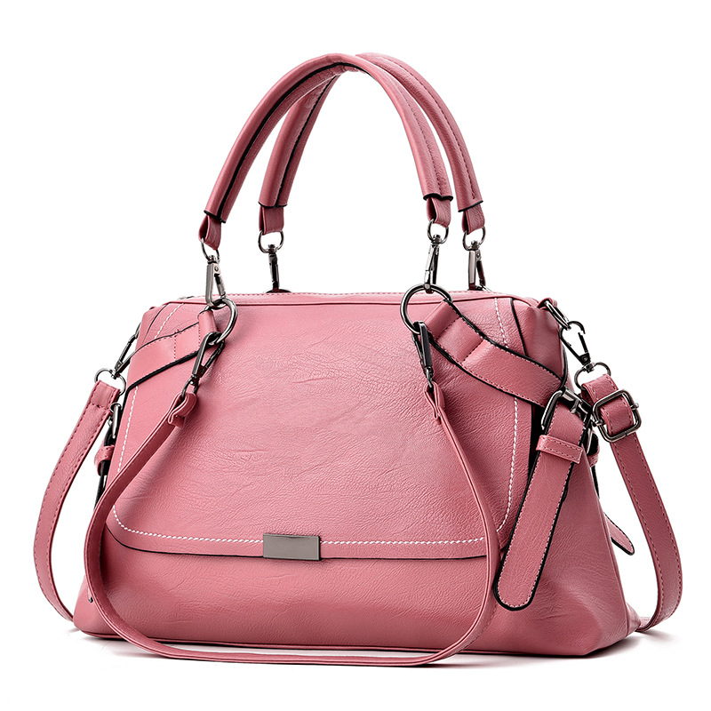 2018 New Fashion Women Handbags High Capacity Tote Bag Soft PU Leather Shoulder Bag Boston Female Casual Messenger Bags in Shoulder Bags from Luggage Bags