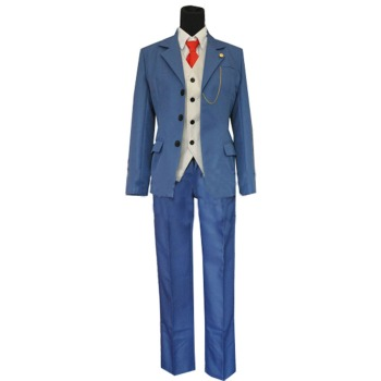 Anime Ace Attorney Gyakuten Saiban Ryuichi Naruhodo Blue Cosplay Costume With Tie