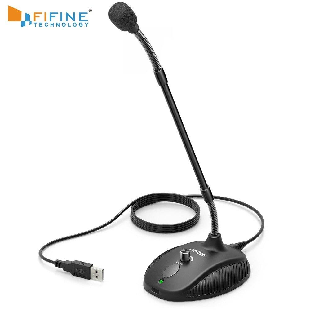 Fifine gooseneck microfone para o ensino em linha sala de aula reunião vídeo aplicativo social usb terno para pc portátil altura ajustável
