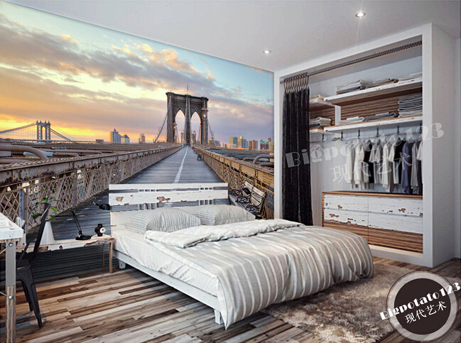 Custom wallpaper photo, the Brooklyn Bridge murals for the living room bedroom TV background wall papel de parede custom wallpaper murals ceiling the night sky for the living room bedroom ceiling wall waterproof papel de parede