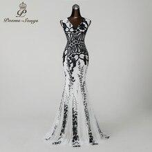 PoemsSongs2019 вечернее платье русалки с v-образным вырезом, платья для выпускного вечера, вечернее платье, vestido de festa, с открытой спиной, элегантное платье с блестками, длинное платье
