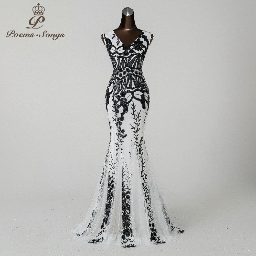 PoemsSongs2018 V neckMermaid Evening Dress prom gowns Formal Party dress vestido de festa Backless Elegant Sequin robe longue