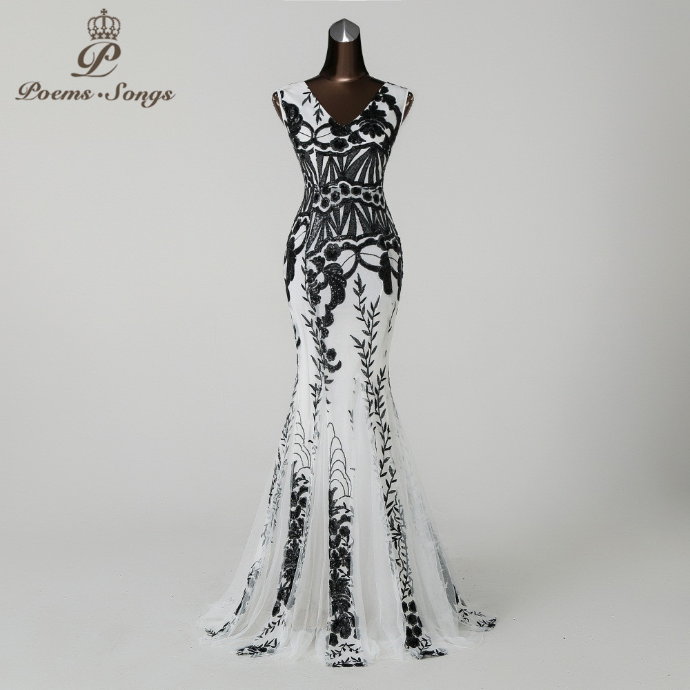 PoemsSongs2019 V neck Mermaid Evening Dress prom gowns Formal Party dress vestido de festa Backless Elegant Sequin robe longue-in Evening Dresses from Weddings & Events